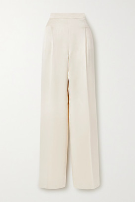 Max Mara Eremi Pleated Silk-satin Wide-leg Pants - Beige