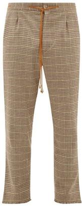 Nanushka Tuan Drawstring-waist Checked Tweed Trousers - Mens - Brown Multi