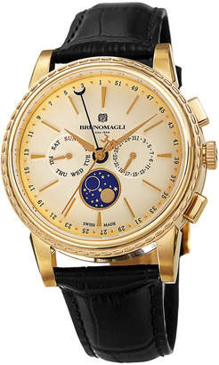 Bruno Magli 43mm Limited Edition Moonphase Watch, Black/Gold
