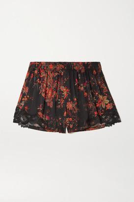 Paco Rabanne Lace-trimmed Paisley-print Crepe De Chine Shorts - Black