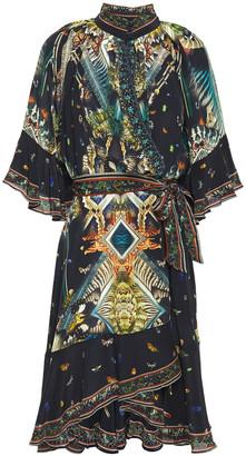 Camilla Maternal Instinct Embellished Printed Silk Crepe De Chine Mini Wrap Dress