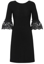 Oscar de la Renta Lace-trimmed wool dress