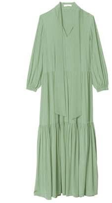 Tibi Silk Tie Neck Ruffle Dress in Pistachio