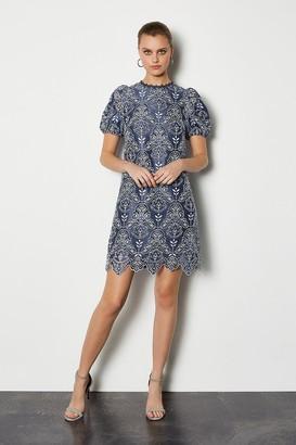 Karen Millen Chemical Lace Short Sleeve Dress