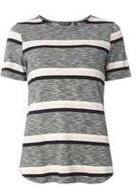 Grey Stripe Curve Hem T-Shirt