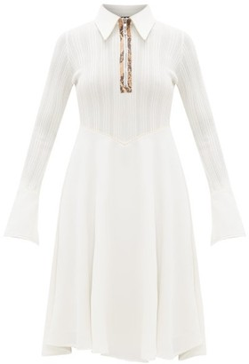 Ellery Calabasas Half-zip Point-collar Dress - White