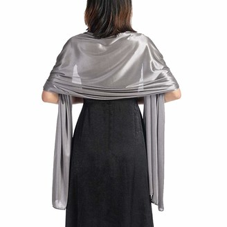 Lachi Women Silky Scarves Wrap for Wedding Gift Party Dark Gray 200 * 70cm Suit for Formal Dress