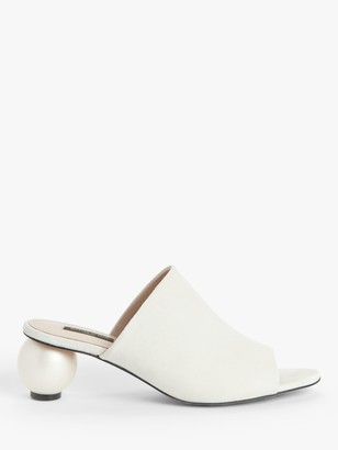 Mother of Pearl Pearl Heel Mules, Stone