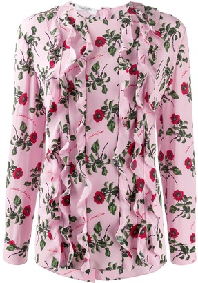 Valentino Ruffle Detail Floral Print Blouse