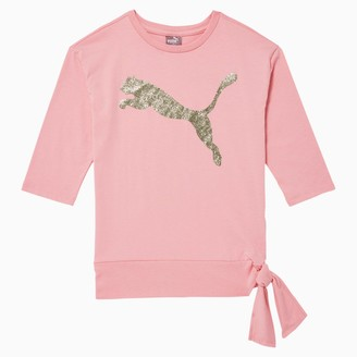 Puma Tag Girls' 3/4 Sleeve Side Knot Tee JR