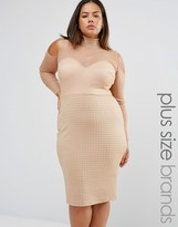 Club L Plus High Neck Bandage Mesh Dress With Cold Shoulder Detail
