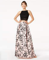 Jump Juniors' 2-Pc. Sequined Lace and Floral-Velvet Gown