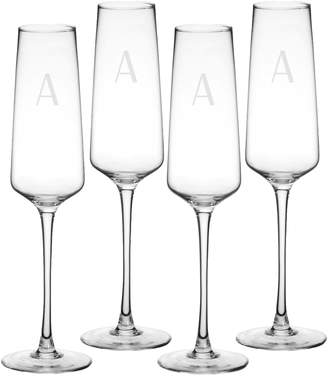 Cathy's Concepts Estate Collection Set of 4 Monogram Champagne Flutes