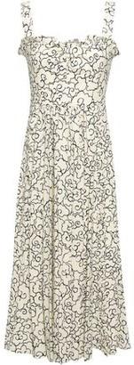 ALEXACHUNG Ruffle-trimmed Printed Crepe Midi Dress