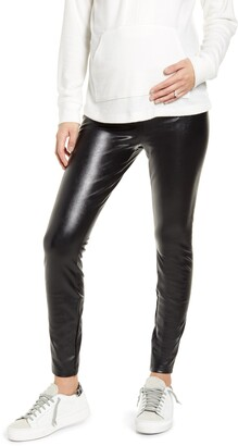 Fourteenth Place Over the Belly Maternity Faux Leather Leggings