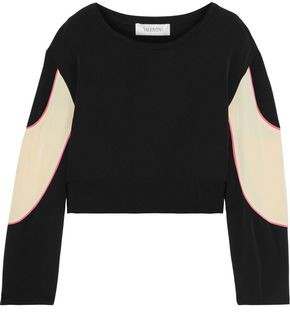 Valentino Cropped Appliqued Faille Top