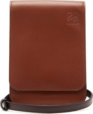 Loewe Gusset Flat Leather Cross-body Bag - Mens - Tan