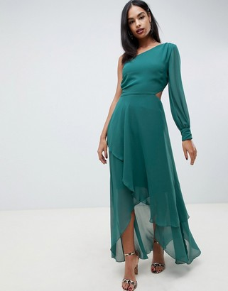 Asos DESIGN one shoulder blouson sleeve tiered maxi dress