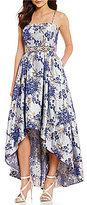 Cachet Strapless Hi-Low Floral Metallic Brocade Gown