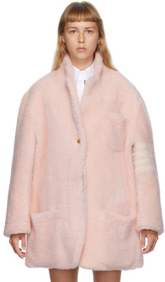 Thom Browne Pink Shearling 4-Bar Coat