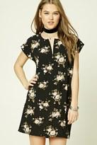 Forever 21 FOREVER 21+ Floral Split-Neck Shift Dress