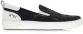 N°21 Black and White Leather Slip on Men's Sneaker w/Stars