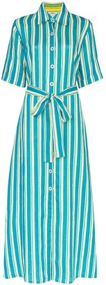 Evi Grintela Sunflower striped maxi shirt dress