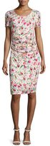 Kay Unger New York Short-Sleeve Floral-Print Ruched Jersey Dress
