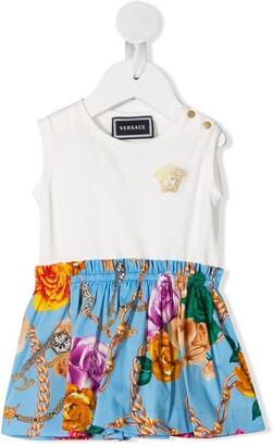 Versace Contrast-Panel Midi Dress