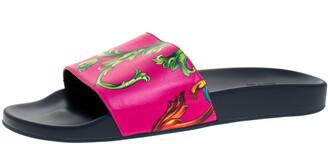 Versace Multicolor Baroque Print Leather Slide Sandals Size 43
