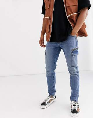 Asos Design DESIGN slim jeans with cargo pockets in dark wash blue