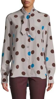 Marni Polka Dot-Print Silk Shirt