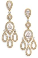 Adriana Orsini Pave Pear Chandelier Earrings/Goldtone