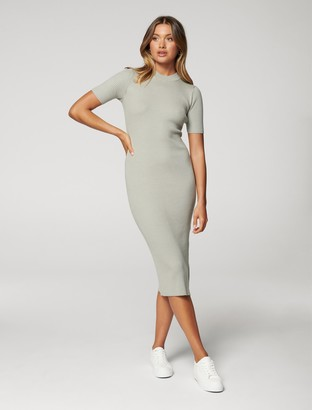 Forever New Yazmin Petite Rib Midi Knit Dress - Sage - 10