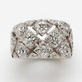 Silver-tone cubic zirconia basket-weave ring