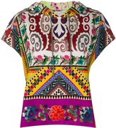 Etro patchwork print short sleeve hoodie