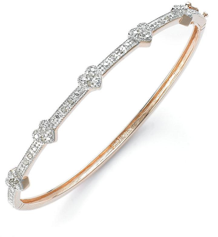 "Townsend Victoria Diamond Bracelet, 6"" 18k Rose Gold over Sterling Silver Diamond Heart Bangle (1/4 ct. t.w.)"