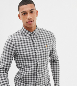 Farah Bobby slim fit checked brushed cotton shirt in gray Exclusive at ASOS