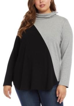 Karen Kane Plus Size Colorblocked Turtleneck Sweater