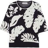 Cédric Charlier Leaf Intarsia Wool Sweater - Midnight blue