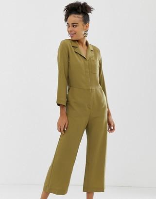 Monki cropped utility jumpsuit in khaki