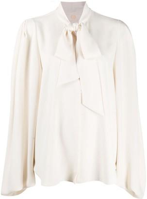 Sara Battaglia Bow-Detail Long-Sleeve Blouse