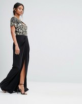 Virgos Lounge Embellished Sweetheart Maxi Dress With Wrap Skirt