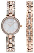 Elgin Women's Cubic Zirconia Watch & Bracelet Set
