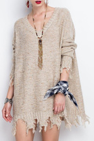 Easel Oversized Distressed Hem Sweater