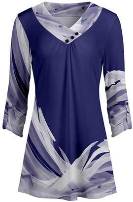 Lily Women's Tunics BLU - Blue & White Abstract Button-Accent V-Neck Tunic - Women & Plus