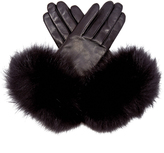 Agnelle Carole fox-fur trim leather gloves