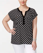 INC International Concepts Plus Size Diamond-Print Top, Created for Macy's