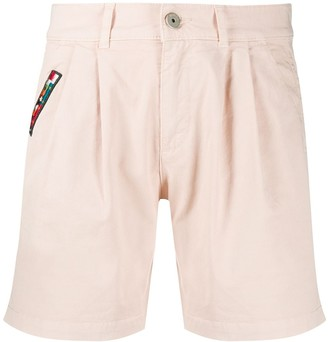 Mr & Mrs Italy Embroidered Patch Cotton Blend Bermuda Shorts