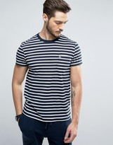 Jack Wills Camberwell Stripe Slim Fit Pocket T-Shirt in Navy